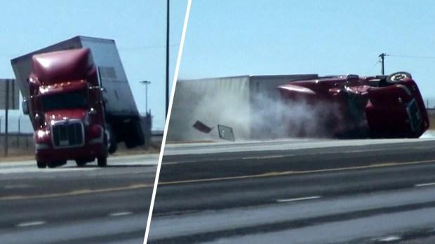 [TLMD - LV] Impresionante video: ráfaga de viento tumba un camión