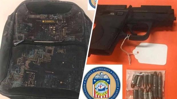 Encuentran arma cargada en mochila de niño de 6 años de edad