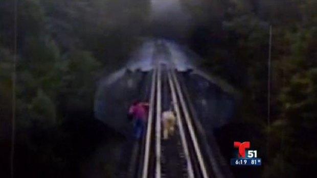 Video: Tren pasa por encima de dos mujeres