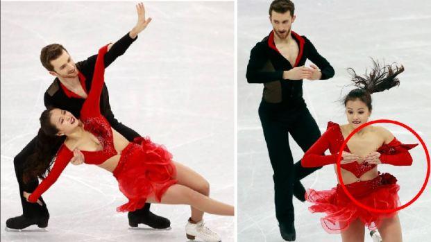 [TLMD - NATL] Se le rompe el vestido a patinadora y sufre para evitar vergüenza