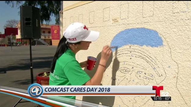 Rennovación de escuela en Comcast Cares Day