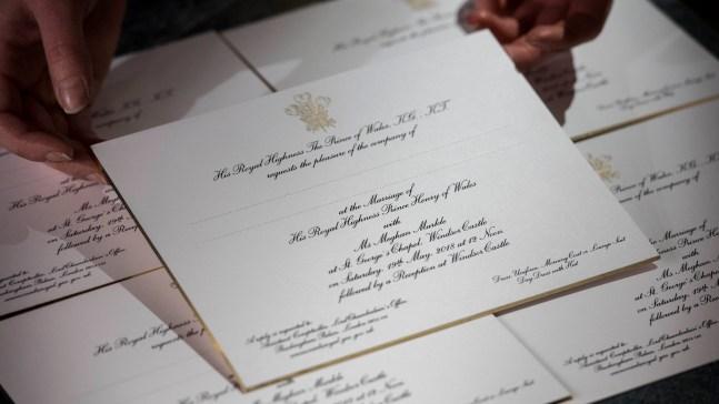 Envían las invitaciones para la boda real