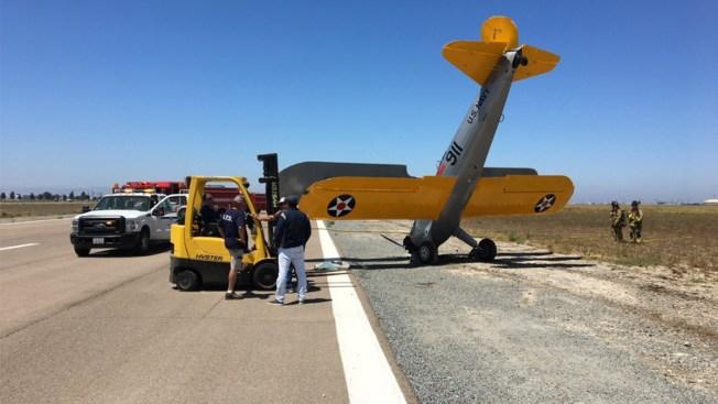 Biplano aterriza de emergencia cerca del aeopuerto Brown Field en Otay