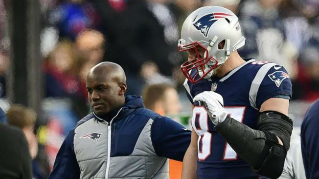 Gronkowski optimista de jugar y Eagles no piensan en la lesión de Brady