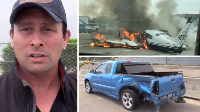 Feliz el conductor impactado por el avión que se estrelló