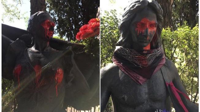 Vandalizan estatuas de Lola Flores y su hijo Antonio