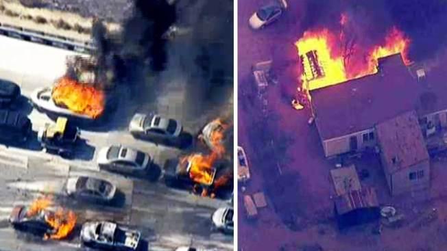 Incendio destruye carros, casas y deja heridos