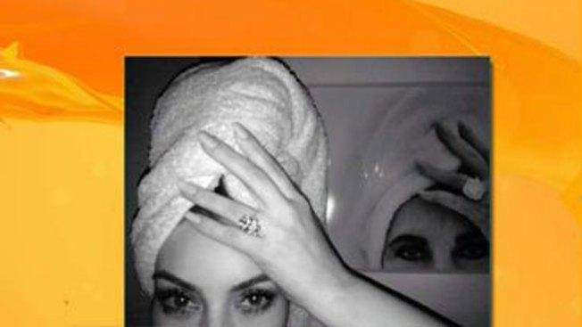Kim Kardashian y su toalla en la cabeza