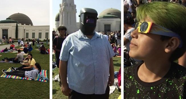 Observadores del eclipse en distintos puntos del sur de California